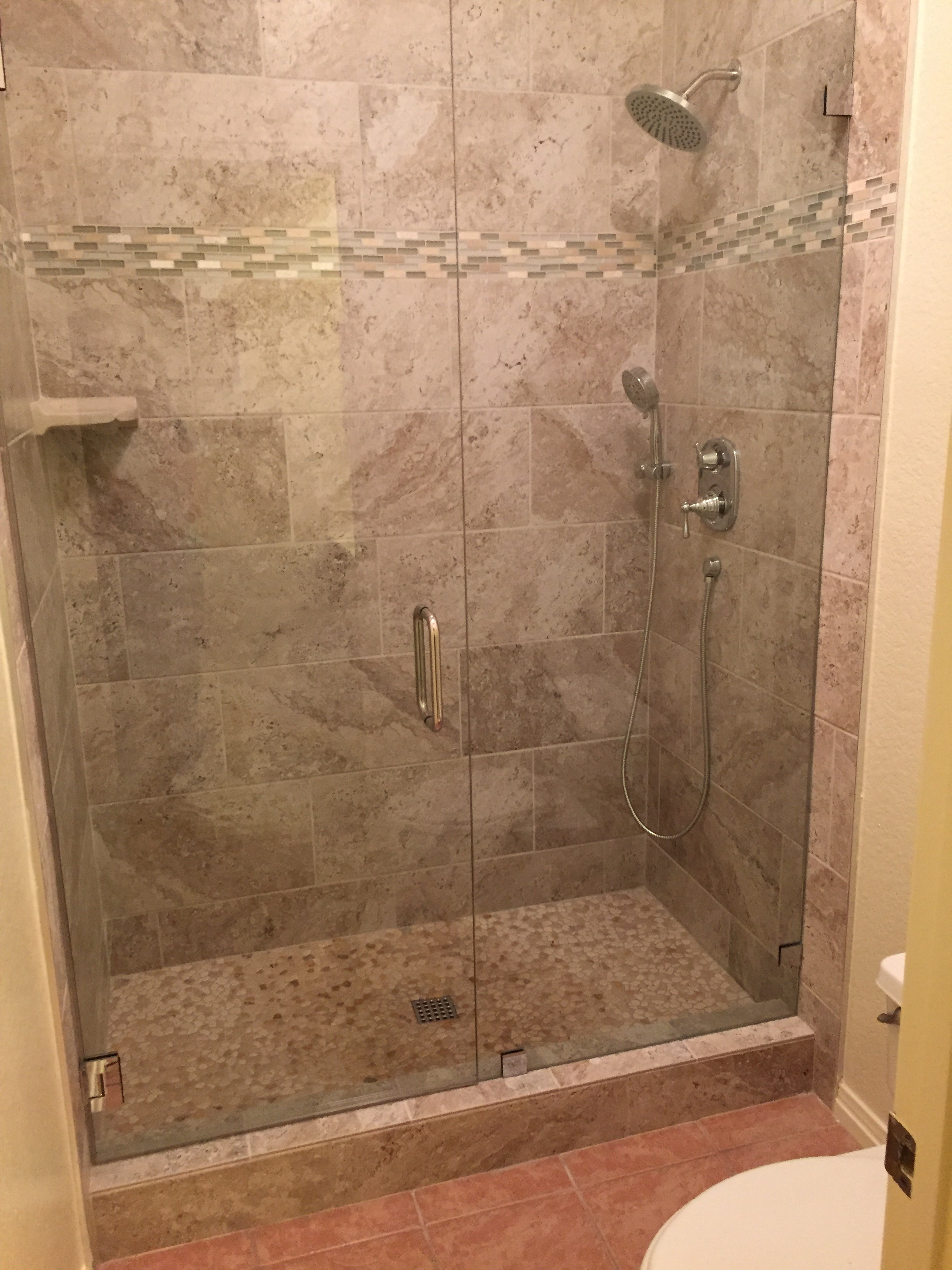 Tile Shower with Glass Doors   JDM Contracting LLC